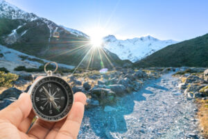 Compass with natural blur background. Travel concept.